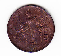 FRANCE KM 842, 1898, XF, 5 Cts. (5BP21) - France