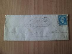 Pli De Pont D'Ain Le 11 Décembre 1858 Pour Paris Le 12 Décembre 1858 Via Ligne Genève à Macon Le 11/12/58  N° 14   B/TB - Poststempel (Briefe)