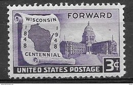 1948 3 Cents Wisconsin, Mint Never Hinged - United States