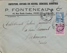Enveloppe Commerciale P. FONTENEAU / Confection Costumes Sur Mesure / 17 Pons / Charente Maritime - Cartes