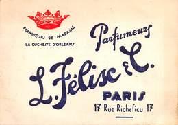"""05651 """"PARFUMEURS L. FÉLIX & C. - PARIS - FOURNISSEURS DE MADAME LA DUCHESSE  D'ORLEANS"""" CARTONCINO PUBBLICIT. ORIGIN. - Other"""