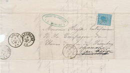 XX979 -- Lettre TP 18 Losange De Points 237 MARCHE 1867 Vers BXL , Réxpédiée Vers CHANXHE Par LIEGE Et COMBLAIN AU PONT - 1865-1866 Profil Gauche