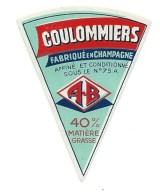 Ancienne Etiquette Fromage  Coulommiers Fabriqué En Champagne  A B A Berton Et Fils   Format Portion - Formaggio