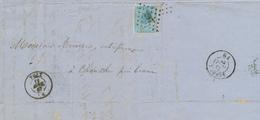 XX983 -- Lettre TP 18 - Cachet Losange De Points 297 POIX 1867 Vers CHANXHE Via ESNEUX - 1865-1866 Linksprofil