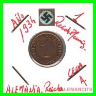 GERMANY  -   MONEDA  DE  1- REICHSPFENNIG  AÑO 1934.A   Bronze - 1 Rentenpfennig & 1 Reichspfennig