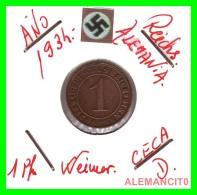 GERMANY  -   MONEDA  DE  1- REICHSPFENNIG  AÑO 1934 D   Bronze - 1 Rentenpfennig & 1 Reichspfennig