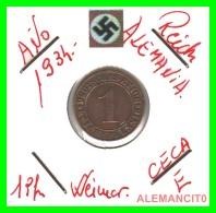 GERMANY  -   MONEDA  DE  1- REICHSPFENNIG  AÑO 1934 E   Bronze - 1 Rentenpfennig & 1 Reichspfennig