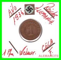 GERMANY  -   MONEDA  DE  1- REICHSPFENNIG  AÑO 1934 F   Bronze - 1 Rentenpfennig & 1 Reichspfennig