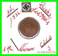 GERMANY  -   MONEDA  DE  1- REICHSPFENNIG  AÑO 1934 J   Bronze - 1 Rentenpfennig & 1 Reichspfennig