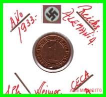 GERMANY  -   MONEDA  DE  1- REICHSPFENNIG  AÑO 1933 A   Bronze - 1 Rentenpfennig & 1 Reichspfennig