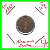 GERMANY  -   MONEDA  DE  1- REICHSPFENNIG  AÑO 1933 E   Bronze - 1 Rentenpfennig & 1 Reichspfennig