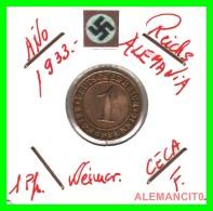 GERMANY  -   MONEDA  DE  1- REICHSPFENNIG  AÑO 1933 F   Bronze - 1 Rentenpfennig & 1 Reichspfennig
