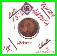 GERMANY  -   MONEDA  DE  1- RENTENPFENNIG  AÑO 1924 J   Bronze - 1 Rentenpfennig & 1 Reichspfennig