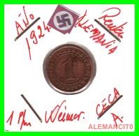GERMANY  -   MONEDA  DE  1- REICHSPFENNIG  AÑO 1924 A   Bronze - 1 Rentenpfennig & 1 Reichspfennig
