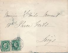 XX985 -- Lettre TP 30 X 2 BRUXELLES Rue De La Loi 1881 Vers LIEGE - 1869-1883 Leopold II.