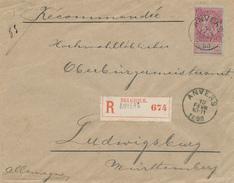 XX989 -- Lettre RECOMMANDEE TP Fine Barbe 1 Franc Carmin ANVERS 1898 Vers Allemagne - Très Frais - COB 250 EUR S/Lettre - 1893-1900 Barba Corta