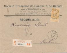 XX990 -- Lettre RECOMMANDEE TP Fine Barbe 1 Franc Jaune ANVERS 1903 Vers Allemagne - Très Frais - COB 260 EUR S/Lettre - 1893-1900 Barba Corta