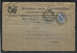 ITALIA REGNO ITALY KINGDOM  14 3 1929 BUSTA MINISTERO DELLE COMUNICAZIONI POSTE E TELEGRAFI LIRE 1,25 FLOREALE DEL 1926 - Storia Postale