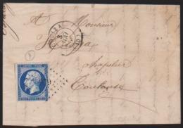 France - LaC N° 14 Bleu Noir Obl. 1856 (Espéraza) Couiza PC 979 Pour Toulouse