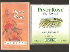 ITALIA - 2 Etichette Vino PINOT ROSA Cantine BADIA E VALDIZZE Di Crocetta Del Montello Rosato DelVENETO - Fiore, Vigneto - Vino Rosato