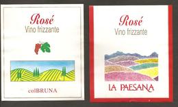 ITALIA - 2 Etichette Vino PINOT ROSE' Cantine COLBRUNA E LA PAESANA Rosato Del VENETO - Vino Rosato
