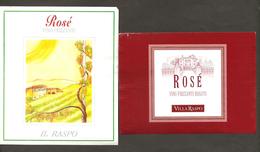 ITALIA - 2 Etichette Vino PINOT ROSE' Cantine IL RASPO E VILLA RASPO Rosato Del VENETO - Villa, Albero - Vino Rosato