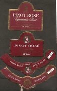 ITALIA - 2 Etichette Vino PINOT ROSE' Spumante Brut Cantine ZONIN Di Gambellara Rosato Del VENETO - Vino Rosato