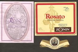 ITALIA - 2 Etichette Vino PINOT ROSE' Cantine ZONIN Di Gambellara Rosato Del VENETO - Vino Rosato