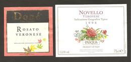 ITALIA - 2 Etichette Vino ROSATO VERONESE E NOVELLO VERONESE Cantine PASQUA Di Verona E DONE' Rosato Del VENETO - Fiori - Vino Rosato
