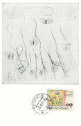 D29261 CARTE MAXIMUM CARD 1971 CZECHOSLOVAKIA - WW II - DRAWING BUTTERFLIES - CONCENTRATION CAMP TEREZIN CP ORIGINAL - WW2