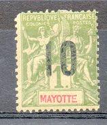 Colonies Françaises Et Protectorats (MAYOTTE) - 1912 - N° 31 - 10 C. Sur 1 F. Olive - Mayotte (1892-2011)
