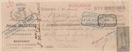 Lettre Change Avec Timbre Fiscal 20/3/1885 MAGENDIE DUPONT Mercerie BORDEAUX Pour Blanchet Bertrand Bordeaux Gironde - Lettres De Change