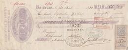 Lettre Change Avec Timbre Fiscal 31/8/1880 MALFILLE & BIAYS Corsets BORDEAUX Pour  Bertrand Macau Gironde - Lettres De Change