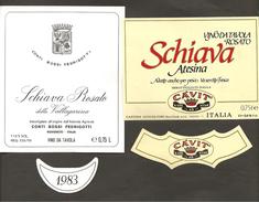 ITALIA - 2 Etichette Vino SCHIAVA ATESINA Cantina CAVIT Di Trento E CONTI BOSSI FEDRIGOTTI Di Rovereto Rosso TRENTINO - Vino Rosato