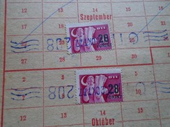 D147489 Hungary-revenue Stamps On Bélyeglap  1950  SZTK/OTI   6  Stamps Each  With 28 Ft Ovpt. - Fiscaux