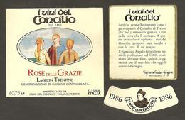 ITALIA - Etichetta Vino LAGREIN TRENTINO Doc 1986 Cantina I VINI DEL CONCILIO Di Volano Rosso Del TRENTINO ALTO ADIGE - Vino Rosato