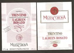 ITALIA - 2 Etichette Vino LAGREIN TRENTINO Doc Cantina MEZZACORONA  Rosato Del TRENTINO ALTO ADIGE - Vino Rosato