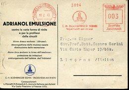 20011  Germany Reich,  Red Meter/freistempel/ema/1943 Ingelheim, Boehringer Adriano Emulsione (see 2 Scan) - Médecine