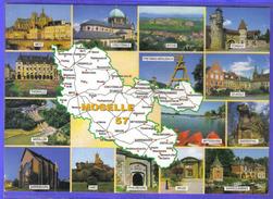 Carte Postale Géographique Département 57. Moselle    Trés Beau Plan - Cartes Géographiques