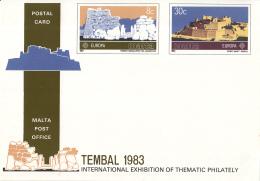 CEPT - FDC Malta - Bijzondere Postkaart TEMBAL '83 - Michel 680-681 - 1983
