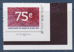 =75ème Anniversaire Appel Du 18 Juin 1940 Par Le Général De Gaulle TVP LV Cadre Philaposte Gris Neuf Issu D'un Collector - Sellos Personalizados (MonTimbraMoi)