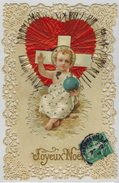 """FANTAISIE PIEUSE BRODEE Croyance Christianisme : """" Joyeux Noël """" - Enfant Jésus Coeur Paillette Ajoutis Gaufré - Noël"""