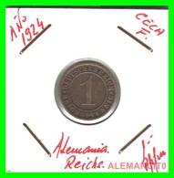 GERMANY  -   MONEDA  DE  1- REICHSPFENNIG  AÑO 1924.F  Bronze - 1 Rentenpfennig & 1 Reichspfennig
