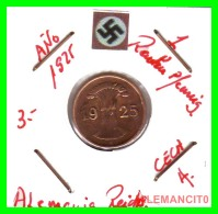GERMANY  -   MONEDA  DE  1- REICHSPFENNIG  AÑO 1925 A  Bronze - 1 Rentenpfennig & 1 Reichspfennig