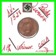 GERMANY  -   MONEDA  DE  1- REICHSPFENNIG  AÑO 1928 D   Bronze - 1 Rentenpfennig & 1 Reichspfennig