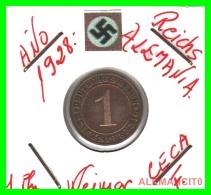 GERMANY  -   MONEDA  DE  1- REICHSPFENNIG  AÑO 1928 F   Bronze - 1 Rentenpfennig & 1 Reichspfennig