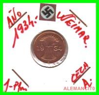 GERMANY  -   MONEDA  DE  1- REICHSPFENNIG  AÑO 1934 A   Bronze - 1 Rentenpfennig & 1 Reichspfennig