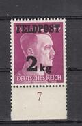 Deutsches Reich Zulassungsmarke Päckchen Bis 2 Kg 1942 - ** Ungebraucht, Unterrand Nr. 7 - Germany