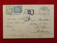 TIMBRE TAXE GRIFFE T AFFRANCHISSEMENT MIXTE SUR CPA MULHOUSE LA POSTE - Postmark Collection (Covers)