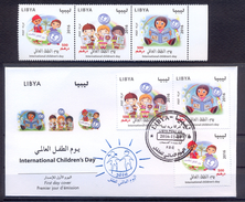 Libya 2016 -  FDC + Strip Of 3 Stamps - International Children's Day - MNH ** Best Quality - Libya